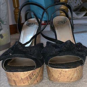 Black Glitter Cork Wedges